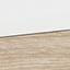 Tischplatte und Füße: Weiß Schubladen: Eiche