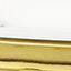 Tafelblad: gemarmerd wit. Frame: messingkleurig