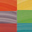 Giallo, lilla, turchese, arancione, rosso, verde