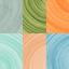 Marrone, verde oliva, marrone, arancione, verde oliva, blu, verde menta