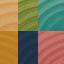 Bleu foncé, rouge, vert, turquoise, jaune, orange clair