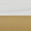 Piano d'appoggio: bianco marmorizzato Tavolino da salotto: dorato opaco