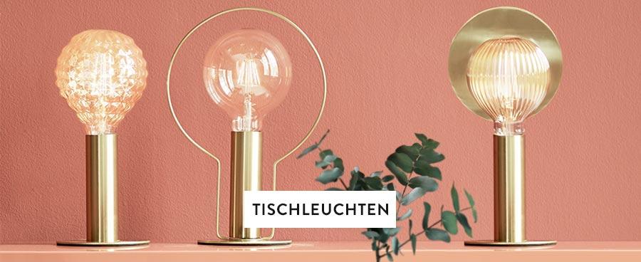 Goldene Tischlampen mit Glühbirnen in unterschiedlicher Optik