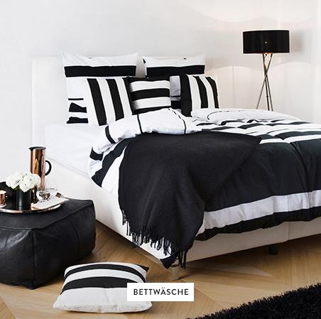 Bettwasche-Bett-Schwarz-Weiss