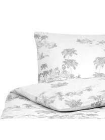 Baumwollperkal-Bettwäsche Bali mit gezeichneten Palmenmotiven, Webart: Perkal Fadendichte 180 TC, Weiß, Grau, 135 x 200 cm + 1 Kissen 80 x 80 cm