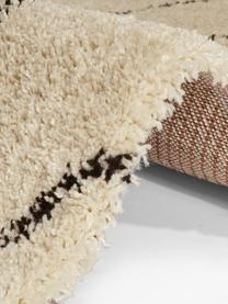 Hochflorteppich Mila mit Fransen in Creme/Schwarz mit grafischem Muster, 100% Polypropylen, Beige, Schwarz, B 80 x L 150 cm (Größe XS)