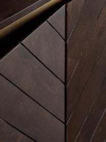 Sideboard Karl mit Türen aus massivem Mangoholz, Korpus: Massives Mangoholz, lacki, Füße: Metall, pulverbeschichtet, Mangoholz, Goldfarben, 165 x 61 cm