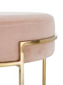Fluwelen kruk Madeleine, Voet: gepoedercoat metaal, Bekleding: roze. Voet: mat goudkleurig, Ø 40 x H 50 cm