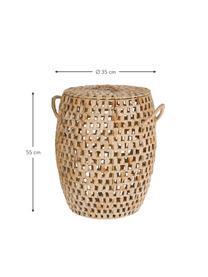 Handgemaakte Opbergmand Zaya van waterhyacint met handvatten, Waterhyacint, Bruin, Ø 35 x H 55 cm