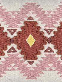 Kissenhülle Puebla mit sommerlichem Ethnomuster, 100% Baumwolle, Rosa, Gelb, Dunkelrot, gebrochenes Weiss, 40 x 40 cm