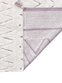 Tappeto in cotone con nappe e motivo geometrico Azteca, Beige, Larg. 90 x Lung. 130 cm (taglia XS)