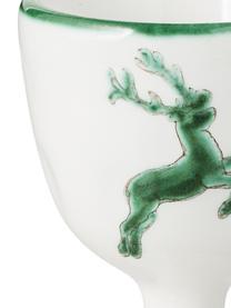 Handbemalter Eierbecher Grüner Hirsch, Keramik, Grün,Weiß, H 6 cm