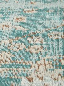 Vintage Chenilleteppich Rimini in Türkis-Braun, handgewebt, Flor: 95% Baumwolle, 5% Polyest, Türkis, Taupe, Braun, B 120 x L 180 cm (Größe S)