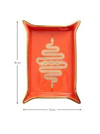 Designer-Schale Snake aus Porzellan, vergoldet, Porzellan, vergoldete Akzente, Innen: Orange, Gold Außen: Weiß, 13 x 18 cm