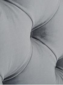 Premium Samt-Boxspringbett Phoebe, Matratze: 7-Zonen-Taschenfederkern , Füße: Massives Buchenholz, lack, Dunkelgrau, 140 x 200 cm