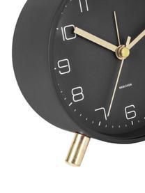 Wecker Lofty, Metall, lackiert, Schwarz, Ø 11 x T 5 cm