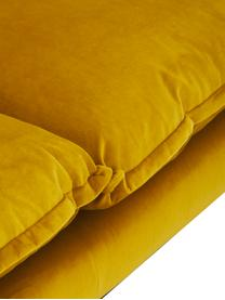 Divano 4 posti in velluto giallo ocra Retro, Rivestimento: velluto di poliestere 86., Sottostruttura: schiuma fredda (schiuma H, Piedini: metallo verniciato a polv, Velluto ocra, Lung. 245 x Prof. 83 cm