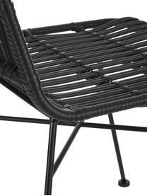 Sedia intrecciata Costa 2 pz, Seduta: treccia di polietilene, Struttura: metallo verniciato a polv, Nero, Larg. 47 x Prof. 62 cm