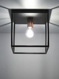 Deckenleuchte Arthur im Industrial-Style, Metall, lackiert, Schwarz, Kupferfarben, 25 x 25 cm