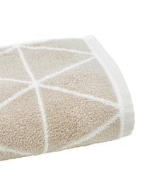 Wende-Handtuch Elina mit grafischem Muster, 100% Baumwolle, mittelschwere Qualität 550 g/m², Sandfarben, Cremeweiß, Gästehandtuch