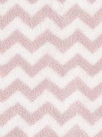 Lot de serviettes de bain imprimé zigzag Liv, 3élém., Rose, blanc crème