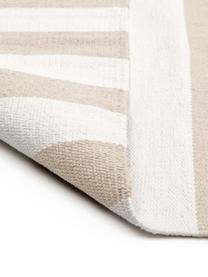 Tappeto in cotone a righe tessuto a mano Blocker, 100% cotone, Bianco crema/beige, Larg. 200 x Lung. 300 cm (taglia L)