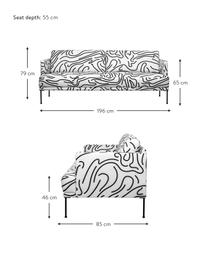 Bank met patroon Fluente (3-zits) met metalen poten, Bekleding: 100% polyester, Frame: massief grenenhout, Poten: gepoedercoat metaal, Geweven stof wit, B 196 x D 85 cm