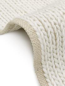 Tappeto in lana tessuto a mano con struttura intrecciata Uno, Retro: cotone, Crema, Larg. 200 x Lung. 300 cm (taglia L)