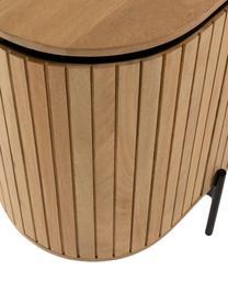 Dressoir Licia met deuren van mangohout, Frame: handgepolijst en gelakt m, Poten: gelakt metaal, Beige, zwart, 170 x 80 cm