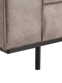 Leren bank Abigail (2-zits) in cognackleurig met metalen poten, Bekleding: gebonden leer (70% leer, , Poten: gelakt staal, Leer cognackleurig, B 190 x D 95 cm