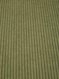 Divano componibile 4 posti in velluto a coste verde con poggiapiedi Lennon, Rivestimento: velluto a coste (92% poli, Struttura: legno di pino massiccio, , Piedini: plastica I piedini si tro, Velluto a coste verde, Larg. 327 x Prof. 207 cm