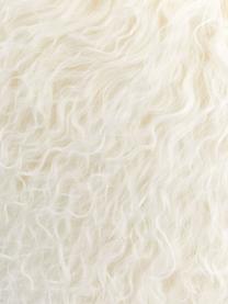 Langhaar-Lammfell Kissenhülle Ella in Naturweiß, gelockt, Vorderseite: 100% mongolisches Lammfel, Rückseite: 100% Polyester, Naturweiß, 30 x 50 cm