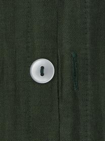 Gewaschene Leinen-Bettwäsche Nature in Dunkelgrün, Halbleinen (52% Leinen, 48% Baumwolle)  Fadendichte 108 TC, Standard Qualität  Halbleinen hat von Natur aus einen kernigen Griff und einen natürlichen Knitterlook, der durch den Stonewash-Effekt verstärkt wird. Es absorbiert bis zu 35% Luftfeuchtigkeit, trocknet sehr schnell und wirkt in Sommernächten angenehm kühlend. Die hohe Reißfestigkeit macht Halbleinen scheuerfest und strapazierfähig., Dunkelgrün, 135 x 200 cm + 1 Kissen 80 x 80 cm