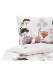 Mako-Satin-Bettwäsche Lena mit Aquarell Blumenprint, Webart: Makosatin Mako-Satin wird, Weiß, Mehrfarbig, 135 x 200 cm