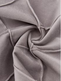 Samt-Kissenhülle Luka in Hellgrau mit Struktur-Karomuster, Samt (100% Polyester), Grau, 40 x 40 cm