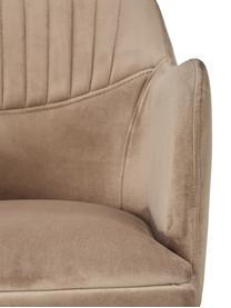 Samt-Drehstuhl Lola mit Armlehne, Bezug: Samt (100% Polyester) Der, Beine: Metall, galvanisiert, Samt Hellbraun, Beine Gold, B 55 x T 52 cm