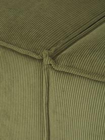 Szezlong modułowy ze sztruksu Lennon, Tapicerka: sztruks (92% poliester, 8, Stelaż: lite drewno sosnowe, skle, Nogi: tworzywo sztuczne Nogi zn, Sztruksowy zielony, S 269 x G 119 cm