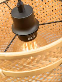 Lampada ad arco in bambù Bhutan, Paralume: bambù, Struttura: bambù, Marrone chiaro, nero, grigio, Ø 50 x Alt. 176 cm