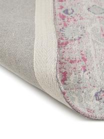 Vintage Chenilleteppich Rimini in Rosa-Hellgrau, handgewebt, Flor: 95% Baumwolle, 5% Polyest, Rosa,Grau, B 80 x L 150 cm (Größe XS)