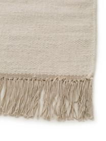 Handgewebter Kelim-Teppich Vince mit Zick-Zack-Muster und Fransen, 90% Wolle, 10% Baumwolle  Bei Wollteppichen können sich in den ersten Wochen der Nutzung Fasern lösen, dies reduziert sich durch den täglichen Gebrauch und die Flusenbildung geht zurück., Elfenbein, Dunkelgrau, B 80 x L 120 cm (Größe XS)