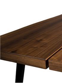 Tavolo con piano in noce Alagon, Piano d'appoggio: pannelli di fibra a media, Gambe: acciaio verniciato a polv, Noce, Larg. 160 x Prof. 90 cm