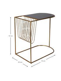 Tavolino in metallo con portariviste Eileen, Struttura: metallo verniciato a polv, Piano d'appoggio: temperato vetro, Ottonato, nero, Larg. 51 x Prof. 32 cm