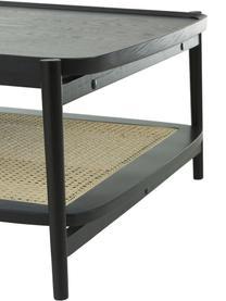 Tavolino da salotto in legno di quercia con intreccio viennese Libby, Ripiano: rattan, Struttura: legno massiccio di querci, Nero, beige, Larg. 110 x Alt. 35 cm