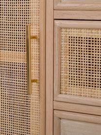 Dressoir Cayetana van hout, Frame: gefineerd MDF, Handvatten: metaal, Poten: gelakt bamboehout, Bruin, 120 x 81 cm