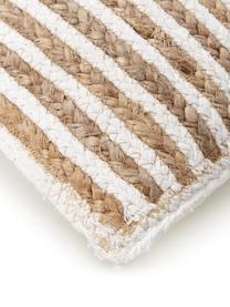 Gestreifte Jute-Kissenhülle Faeka, Vorderseite: Jute, Baumwolle, Rückseite: 100% Baumwolle, Beige,Weiß, 30 x 50 cm