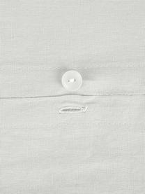Gewaschene Leinen-Bettwäsche Nature in Hellgrau, Halbleinen (52% Leinen, 48% Baumwolle)  Fadendichte 108 TC, Standard Qualität  Halbleinen hat von Natur aus einen kernigen Griff und einen natürlichen Knitterlook, der durch den Stonewash-Effekt verstärkt wird. Es absorbiert bis zu 35% Luftfeuchtigkeit, trocknet sehr schnell und wirkt in Sommernächten angenehm kühlend. Die hohe Reißfestigkeit macht Halbleinen scheuerfest und strapazierfähig., Hellgrau, 155 x 220 cm + 1 Kissen 80 x 80 cm
