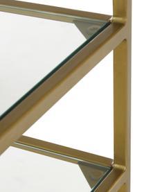 Consolle antica con 3 ripiani Hall, Struttura: metallo, verniciato a pol, Ripiani: vetro, Ottone, trasparente, Larg. 90 x Prof. 32 cm