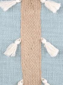 Kissen Eivissa Stripe mit Jute-Dekor, mit Inlett, 100% Baumwolle, Hellblau, Beige, 40 x 40 cm