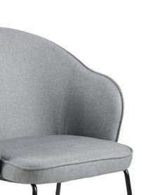 Krzesło z podłokietnikami Mitzie, Tapicerka: poliester Dzięki tkaninie, Nogi: metal lakierowany, Jasny szary Nogi: czarny, S 57 x G 59 cm