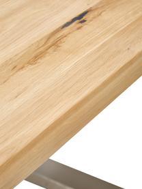 Esstisch Oliver mit Massivholzplatte, Tischplatte: Wildeichenlamellen, massi, Beine: Metall, lackiert, Tischplatte: Wildeiche, Beine: Edelstahl, matt gebürstet, B 180 x T 90 cm